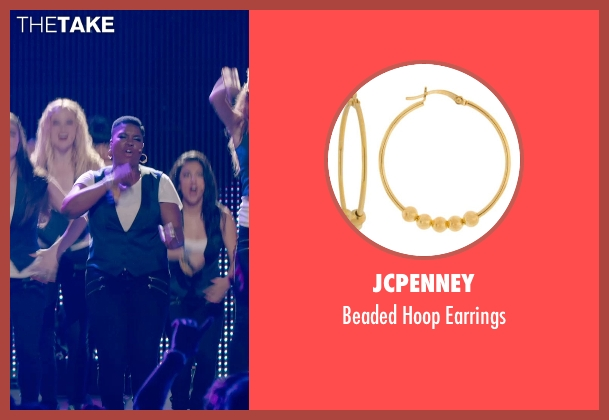 JCPenney gold earrings from Pitch Perfect 2 seen with Ester Dean (Cynthia-Rose Adams)
