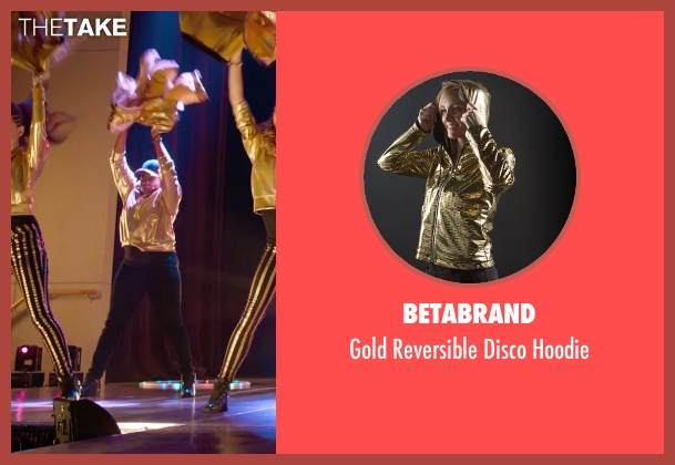 Betabrand gold hoodie from Pitch Perfect 2 seen with Ester Dean (Cynthia-Rose Adams)