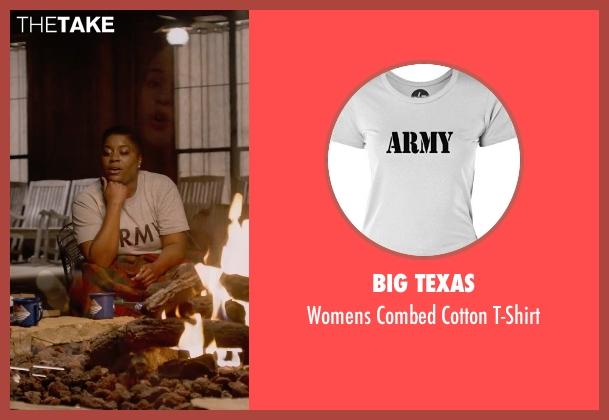 Big Texas white t-shirt from Pitch Perfect 2 seen with Ester Dean (Cynthia-Rose Adams)
