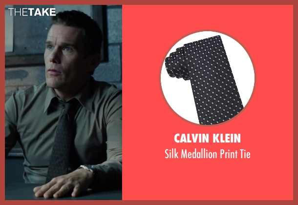 Calvin Klein black tie from Regression seen with Ethan Hawke (Bruce Kenner)