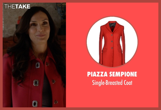 Piazza Sempione red coat from How To Get Away With Murder seen with Eve Rothlow (Famke Janssen)