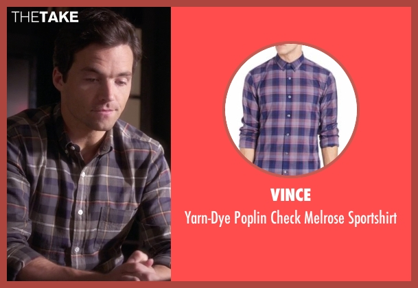 Vince blue sportshirt from Pretty Little Liars seen with Ezra Fitz (Ian Harding)