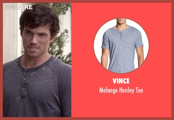 Vince blue tee from Pretty Little Liars seen with Ezra Fitz (Ian Harding)