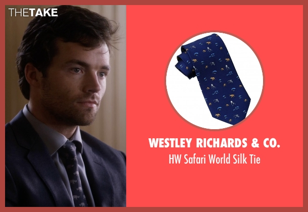 Westley Richards & Co. blue tie from Pretty Little Liars seen with Ezra Fitz (Ian Harding)