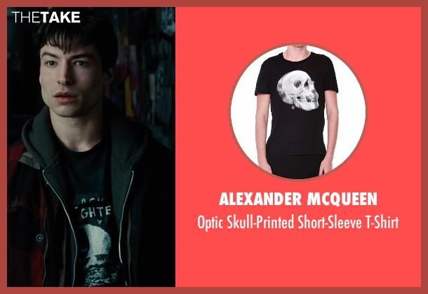 Alexander McQueen black t-shirt from Justice League seen with Ezra Miller (Barry Allen / The Flash)
