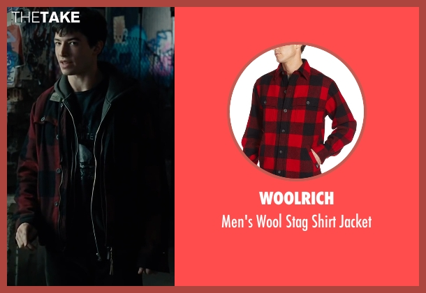 Woolrich  red jacket from Justice League seen with Ezra Miller (Barry Allen / The Flash)