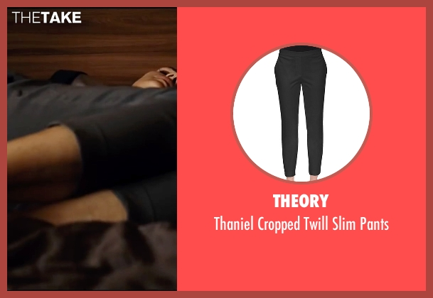 Theory black pants from Taken 3 seen with Famke Janssen