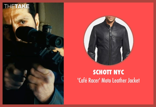 Schott NYC black jacket from Safe House seen with Fares Fares (Vargas)
