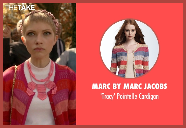 Marc by Marc Jacobs red cardigan from Scream Queens seen with Feather McCarthy (Tavi Gevinson)