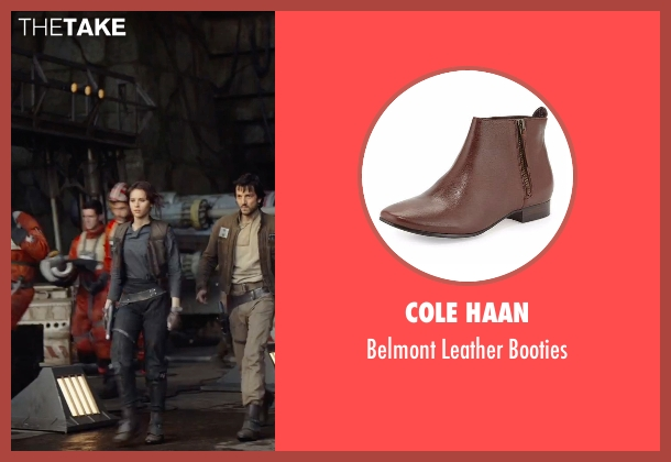Cole Haan brown booties from Rogue One: A Star Wars Story seen with Felicity Jones (Jyn Erso)