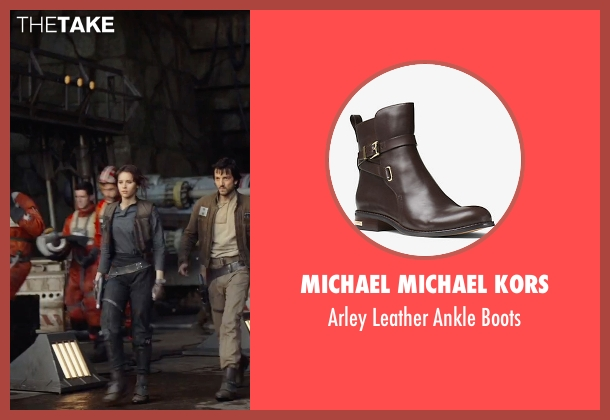 Michael Michael Kors brown boots from Rogue One: A Star Wars Story seen with Felicity Jones (Jyn Erso)