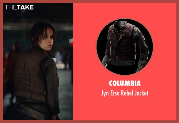 Columbia brown jacket from Rogue One: A Star Wars Story seen with Felicity Jones (Jyn Erso)