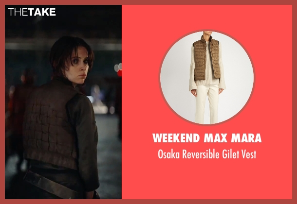 Weekend Max Mara brown vest from Rogue One: A Star Wars Story seen with Felicity Jones (Jyn Erso)