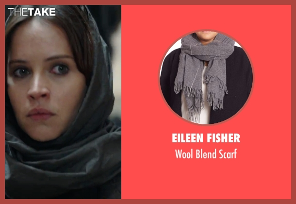Eileen Fisher gray scarf from Rogue One: A Star Wars Story seen with Felicity Jones (Jyn Erso)