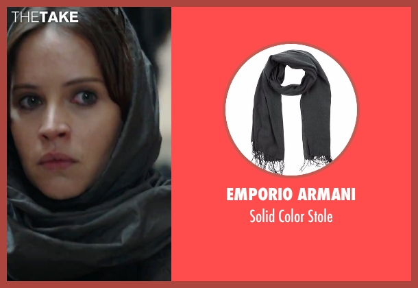 Silk and Cashmere gray scarf from Rogue One: A Star Wars Story seen with Felicity Jones (Jyn Erso)