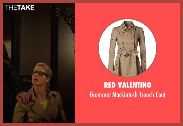 Red Valentino beige coat from Arrow seen with Felicity Smoak (Emily Bett Rickards)