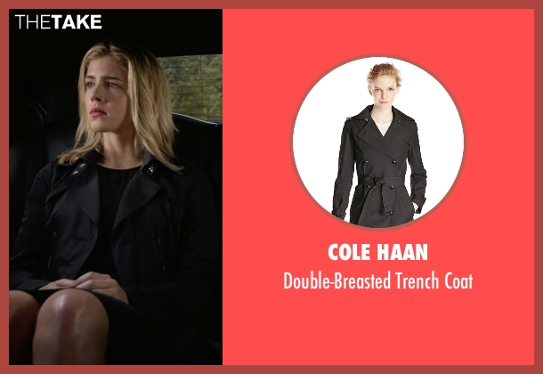 Cole Haan black coat from Arrow seen with Felicity Smoak (Emily Bett Rickards)