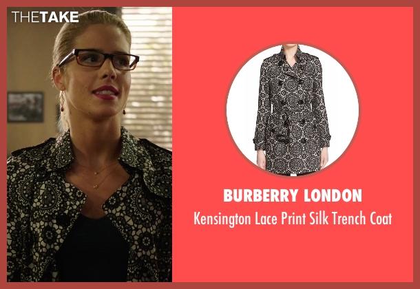 Burberry London black coat from Arrow seen with Felicity Smoak (Emily Bett Rickards)