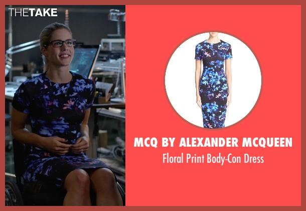 McQ By Alexander McQueen blue dress from Arrow seen with Felicity Smoak (Emily Bett Rickards)