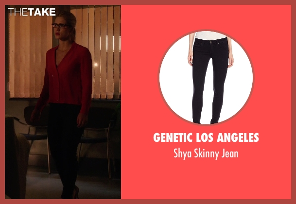 Genetic Los Angeles black jean from Arrow seen with Felicity Smoak (Emily Bett Rickards)