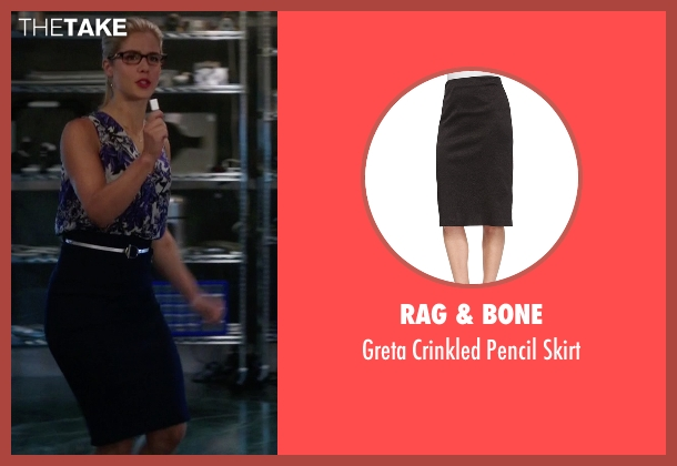 Rag & Bone black skirt from Arrow seen with Felicity Smoak (Emily Bett Rickards)