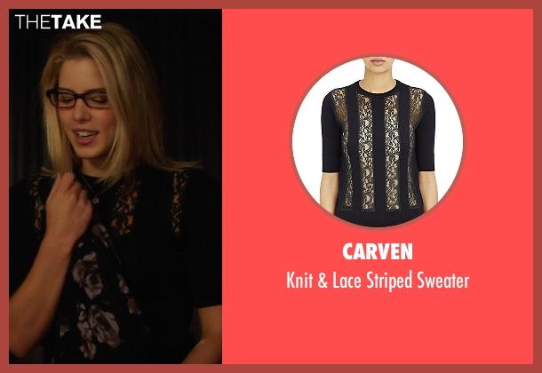 Carven black sweater from Arrow seen with Felicity Smoak (Emily Bett Rickards)