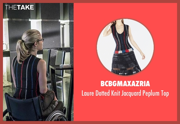 BCBGmaxazria black top from Arrow seen with Felicity Smoak (Emily Bett Rickards)
