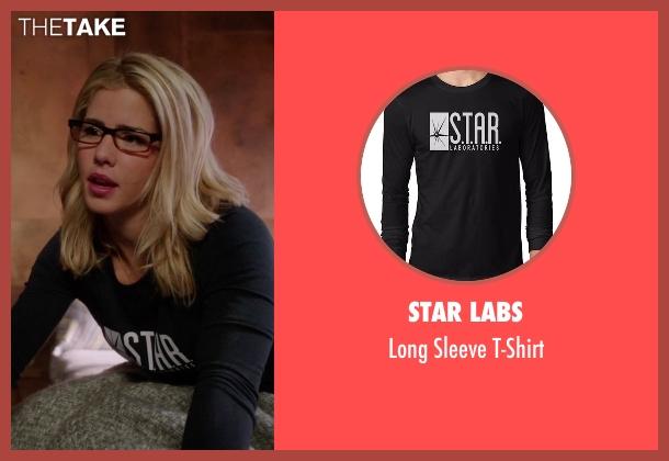 STAR Labs black t-shirt from Arrow seen with Felicity Smoak (Emily Bett Rickards)