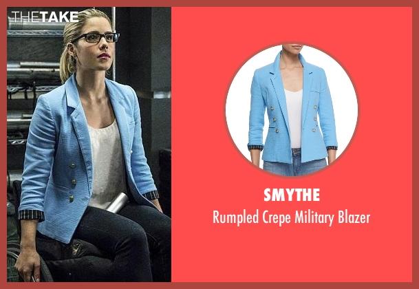 Smythe blue blazer from Arrow seen with Felicity Smoak (Emily Bett Rickards)