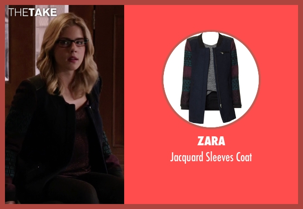 Zara blue coat from Arrow seen with Felicity Smoak (Emily Bett Rickards)