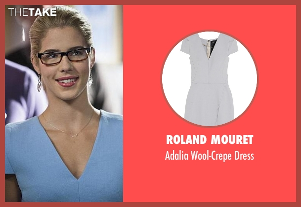 Roland Mouret blue dress from Arrow seen with Felicity Smoak (Emily Bett Rickards)