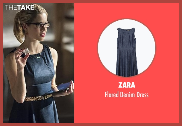 Zara blue dress from Arrow seen with Felicity Smoak (Emily Bett Rickards)