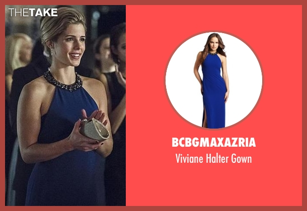 BCBGMAXAZRIA blue gown from Arrow seen with Felicity Smoak (Emily Bett Rickards)
