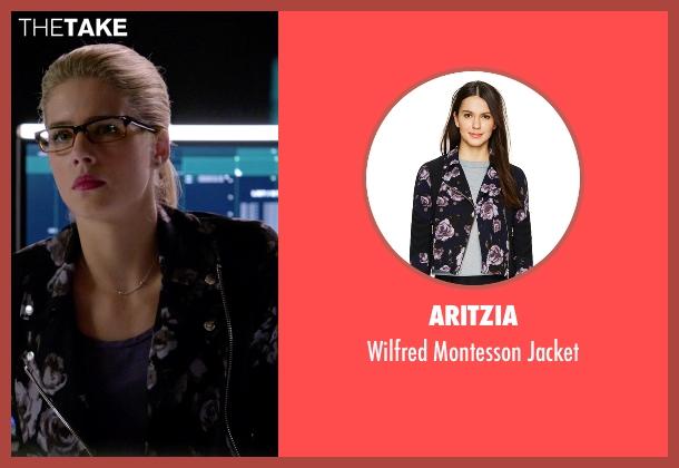 Aritzia blue jacket from Arrow seen with Felicity Smoak (Emily Bett Rickards)