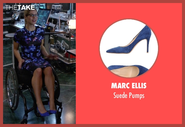 Marc Ellis blue pumps from Arrow seen with Felicity Smoak (Emily Bett Rickards)