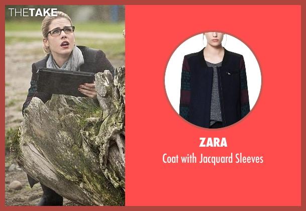 Zara blue sleeves from Arrow seen with Felicity Smoak (Emily Bett Rickards)