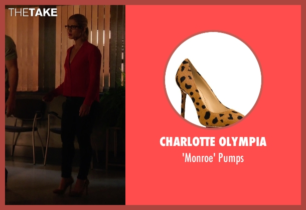 Charlotte Olympia brown pumps from Arrow seen with Felicity Smoak (Emily Bett Rickards)