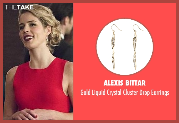Alexis Bittar gold earrings from Arrow seen with Felicity Smoak (Emily Bett Rickards)