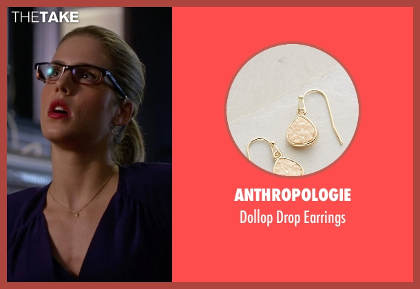 Anthropologie gold earrings from Arrow seen with Felicity Smoak (Emily Bett Rickards)