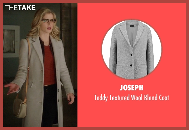 Joseph gray coat from Arrow seen with Felicity Smoak (Emily Bett Rickards)
