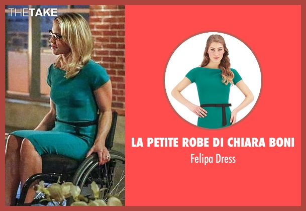 La Petite Robe di Chiara Boni green dress from Arrow seen with Felicity Smoak (Emily Bett Rickards)