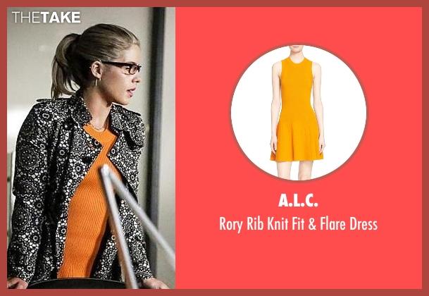 A.L.C. orange dress from Arrow seen with Felicity Smoak (Emily Bett Rickards)