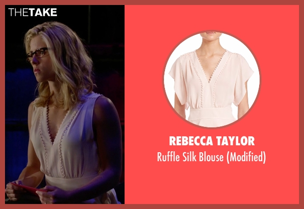 Rebecca Taylor pink blouse from Arrow seen with Felicity Smoak (Emily Bett Rickards)