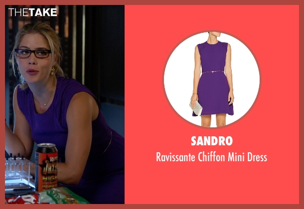 Sandro purple dress from Arrow seen with Felicity Smoak (Emily Bett Rickards)