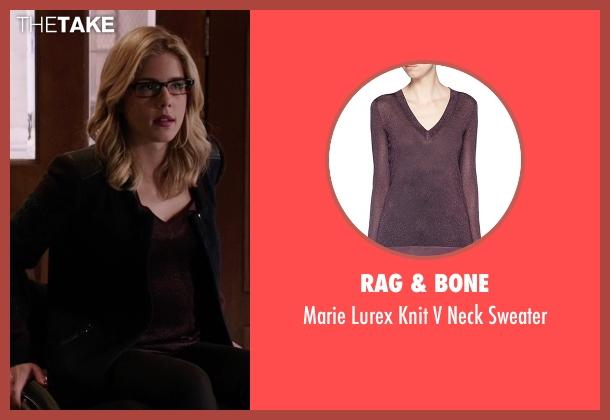Rag & Bone purple sweater from Arrow seen with Felicity Smoak (Emily Bett Rickards)