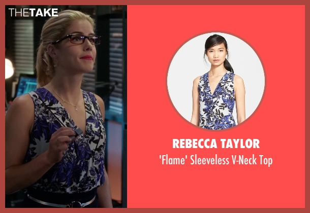 Rebecca Taylor purple top from Arrow seen with Felicity Smoak (Emily Bett Rickards)