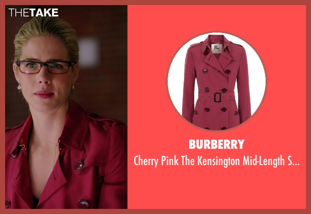 Burberry red coat from Arrow seen with Felicity Smoak (Emily Bett Rickards)