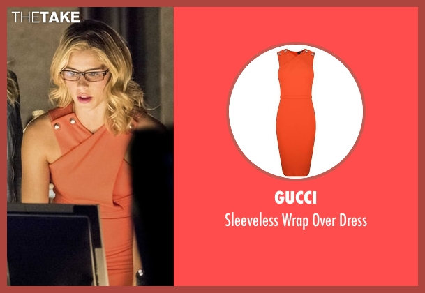 Gucci red dress from Arrow seen with Felicity Smoak (Emily Bett Rickards)