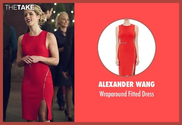 Alexander Wang red dress from Arrow seen with Felicity Smoak (Emily Bett Rickards)
