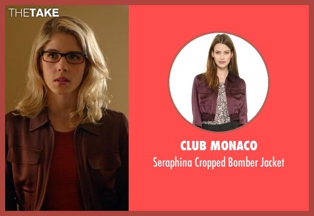 Club Monaco red jacket from Arrow seen with Felicity Smoak (Emily Bett Rickards)